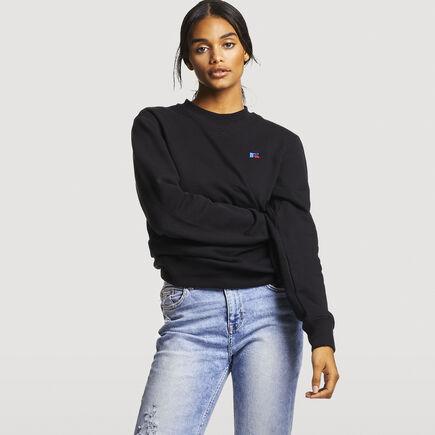 Women's Heritage Oversized Fleece Crew Sweatshirt BLACK