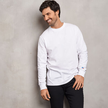 Men's Cotton Classic Long Sleeve T-Shirt WHITE