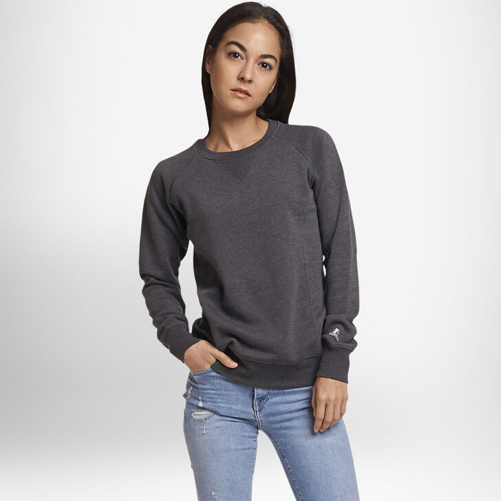 Women's Fleece Crew Sweatshirt Black Heather