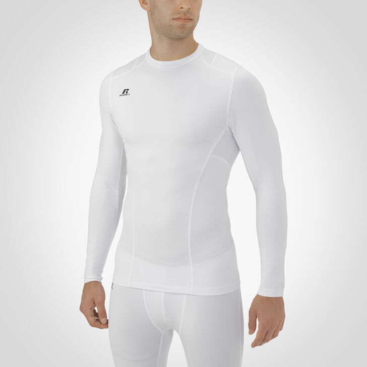 Men's Dri-Power® Tight-Fit Cold Weather Long Sleeve Crew WHITE