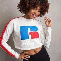 Women's Heritage Cropped Logo Graphic Fleece Sweatshrit BLEACHED MARL