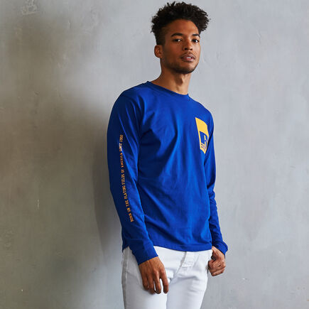Men's Heritage Playing Fields Graphic Long Sleeve T-Shirt MAZARINE BLUE