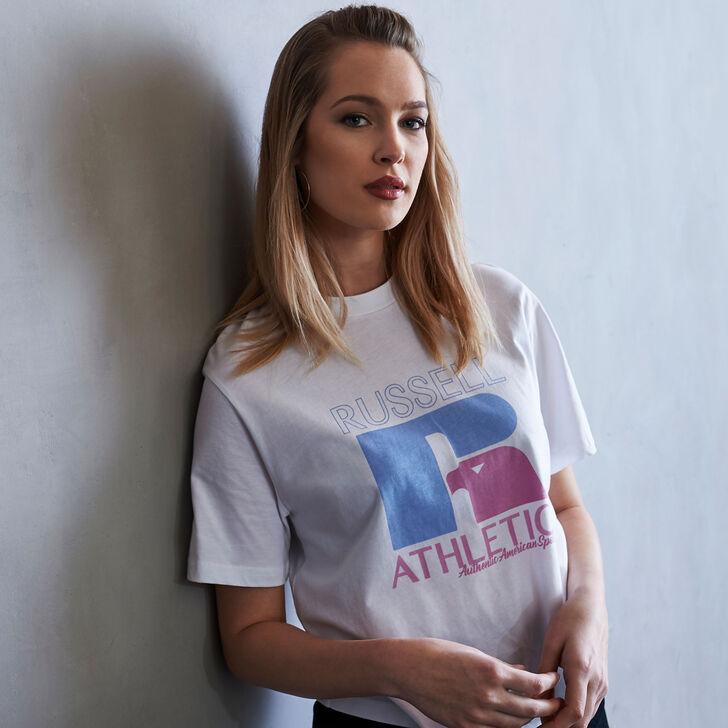 Women's Heritage Mid-Crop Graphic T-Shirt WHITE