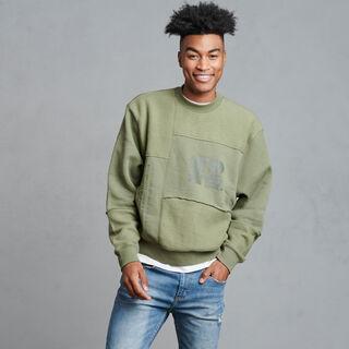 Men's Patchwork HighNeck Sweatshirt Olive