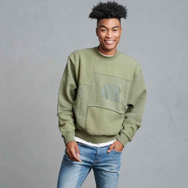 Men's Patchwork HighNeck Sweatshirt Olive