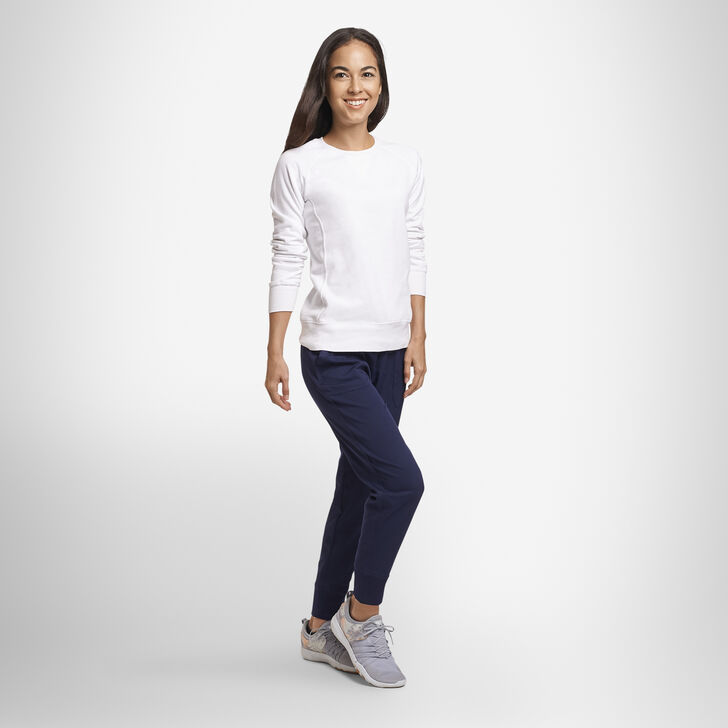 Women's Lightweight Fleece Crew Sweatshirt WHITE