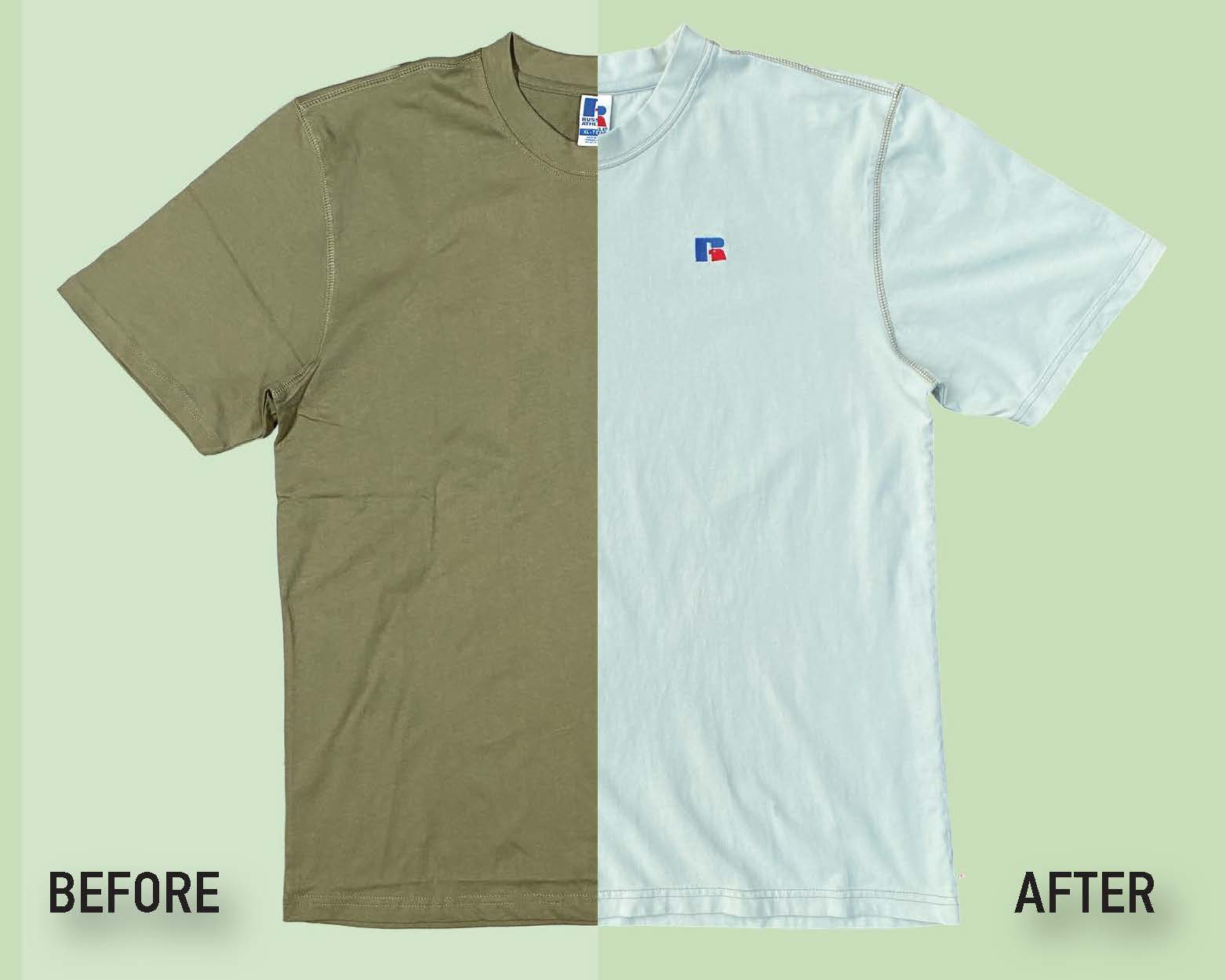Before and after picture of a garment dyed tshirt.