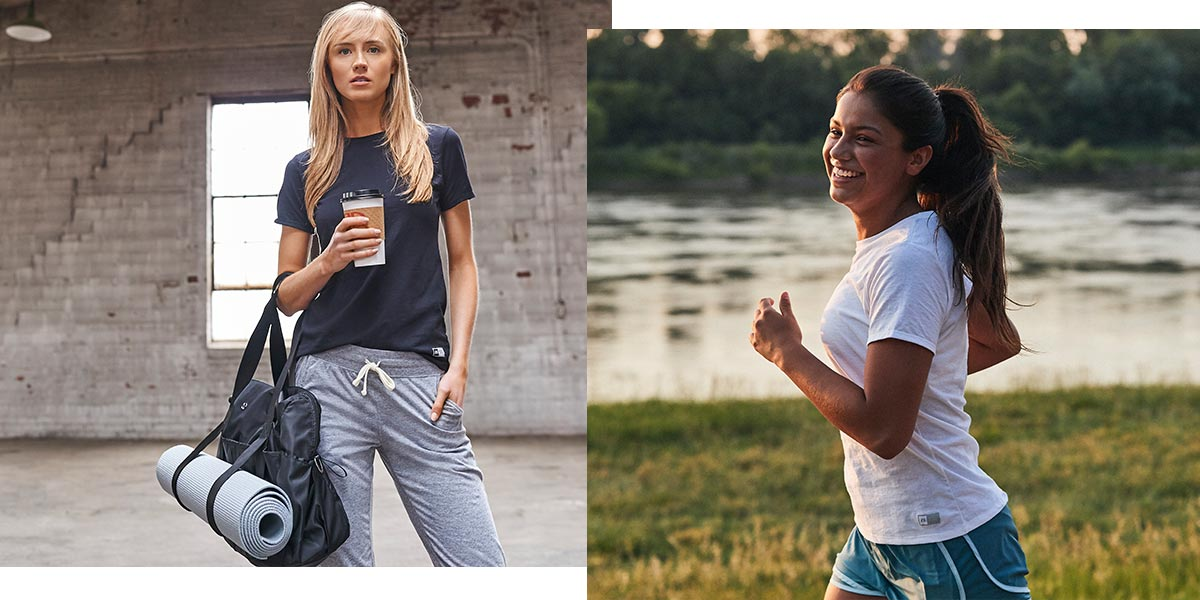 Two women wearing Women's Essential Tees, one is holding coffee and the other is jogging.