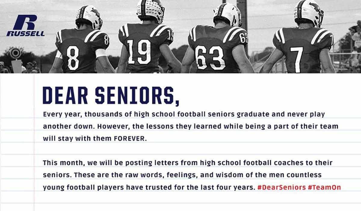 "Russell Athletic® Introduces ""Dear Seniors"" Program, to Premiere New Commercial at Russell Athletic Bowl"