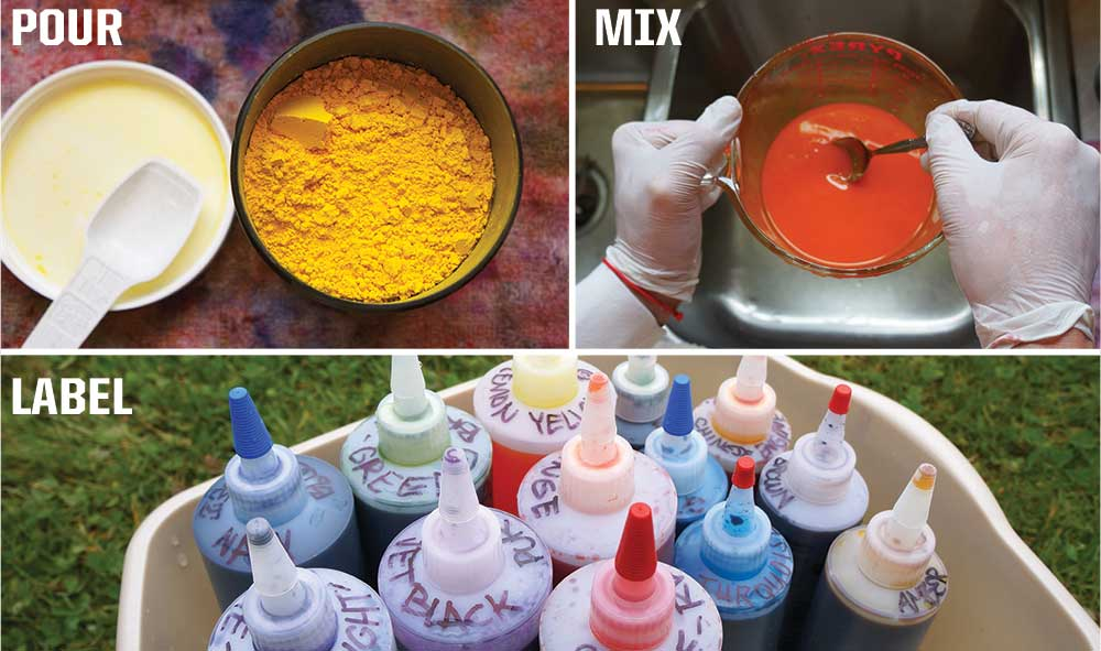 Picture of tie dye being made by pouring, mixing, and labeling the containers.