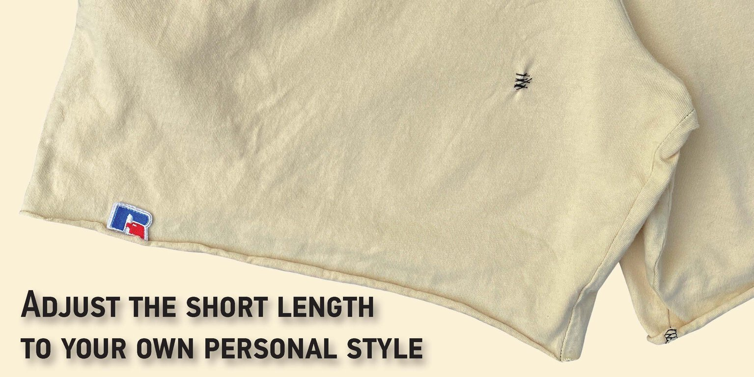 Picture of a garment dyed shorts stitched shorter.