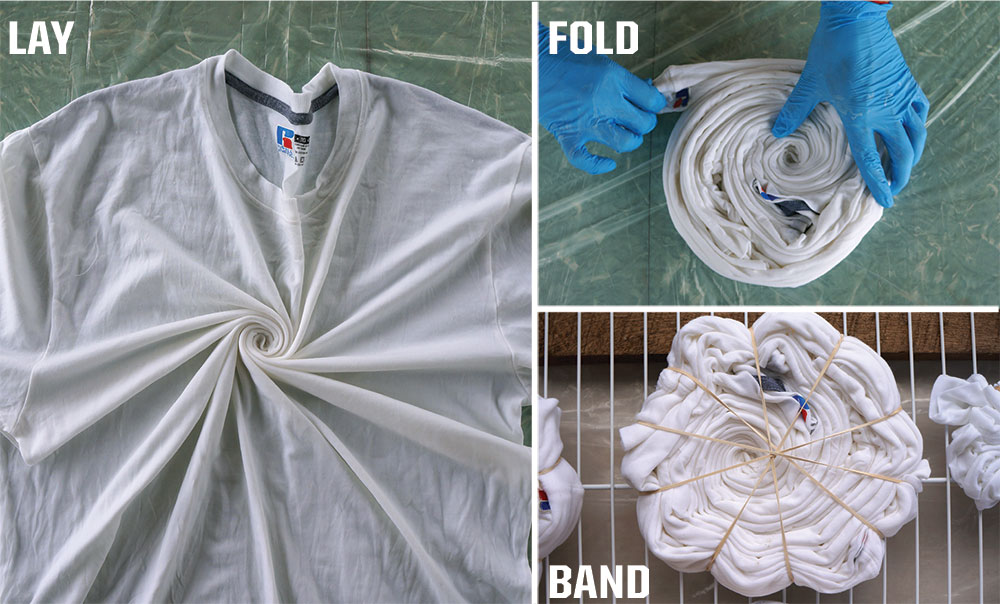 Pictures of a tshirt being laid down, folded into a circle and held together with rubber bands.