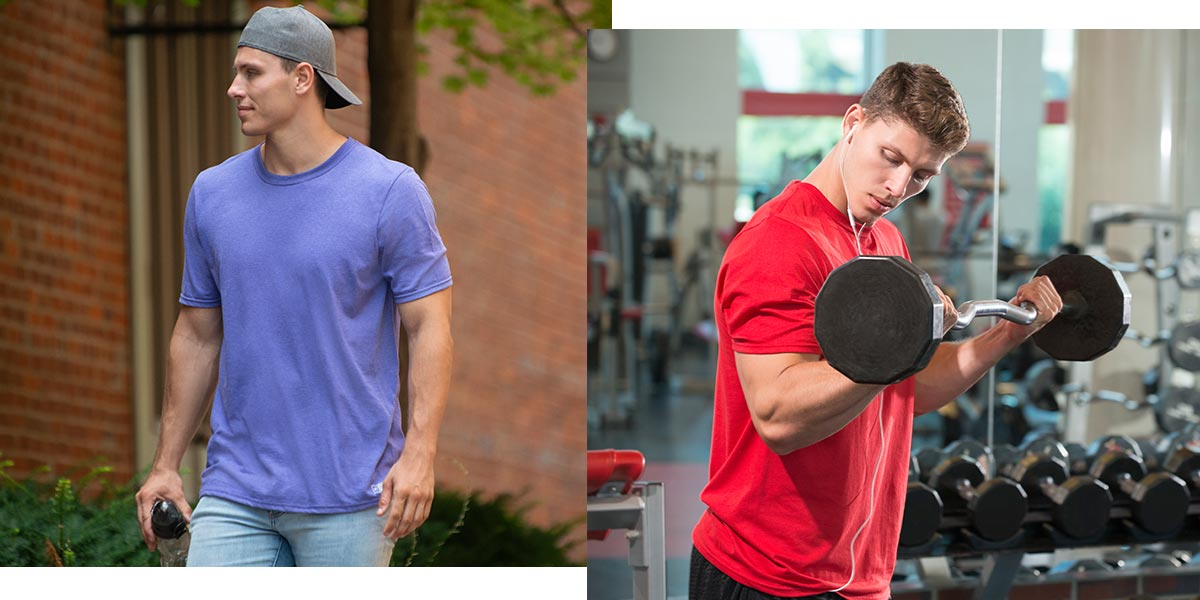 Two men wearing Men's Essentials Tees, one is walking and the other is lifting weights.