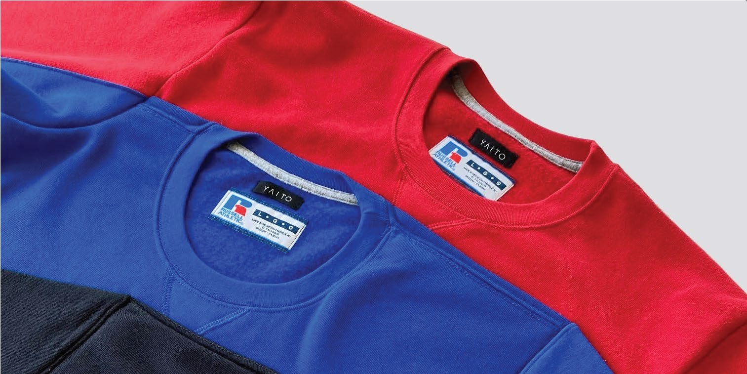 Carlton Yaito labelled Russell Athletic Sweatshirts.