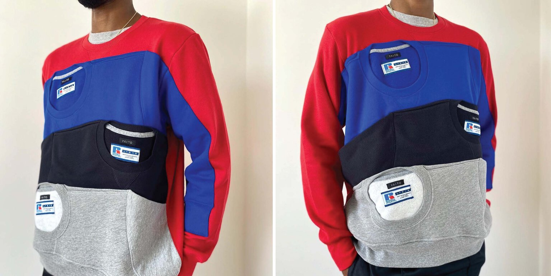 Man wearing the Carlton Yaito Russell Athletic Sweatshirt creation.